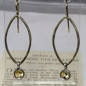 Jewelry - Vintage Citrine Crystal Sterling Silver Earrings